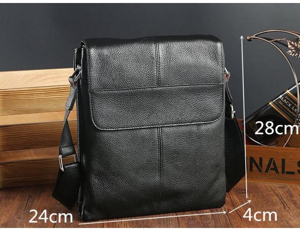 Кожаная сумка на плечо с двумя отделениями TIDING BAG A25-064A чёрная - Фото № 4