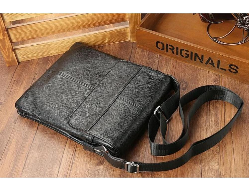 Кожаная сумка на плечо с двумя отделениями TIDING BAG A25-064A чёрная - Фото № 6