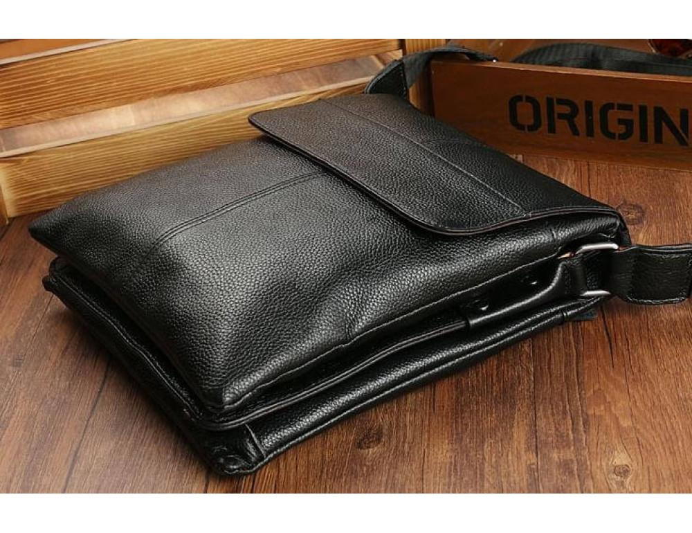 Кожаная сумка на плечо с двумя отделениями TIDING BAG A25-064A чёрная - Фото № 7
