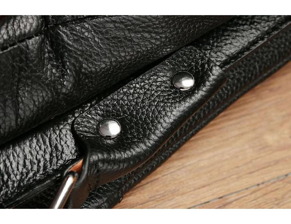 Кожаная сумка на плечо с двумя отделениями TIDING BAG A25-064A чёрная - Фото № 10