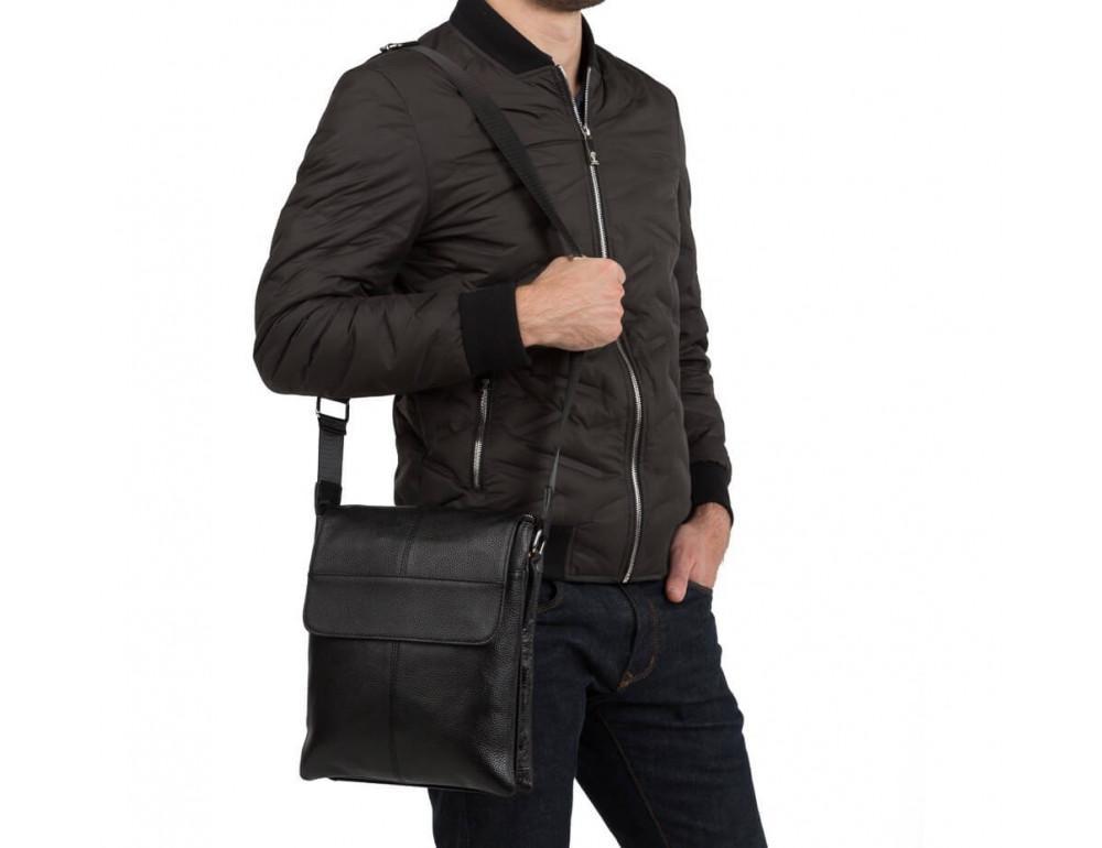 Кожаная сумка на плечо с двумя отделениями TIDING BAG A25-064A чёрная - Фото № 3
