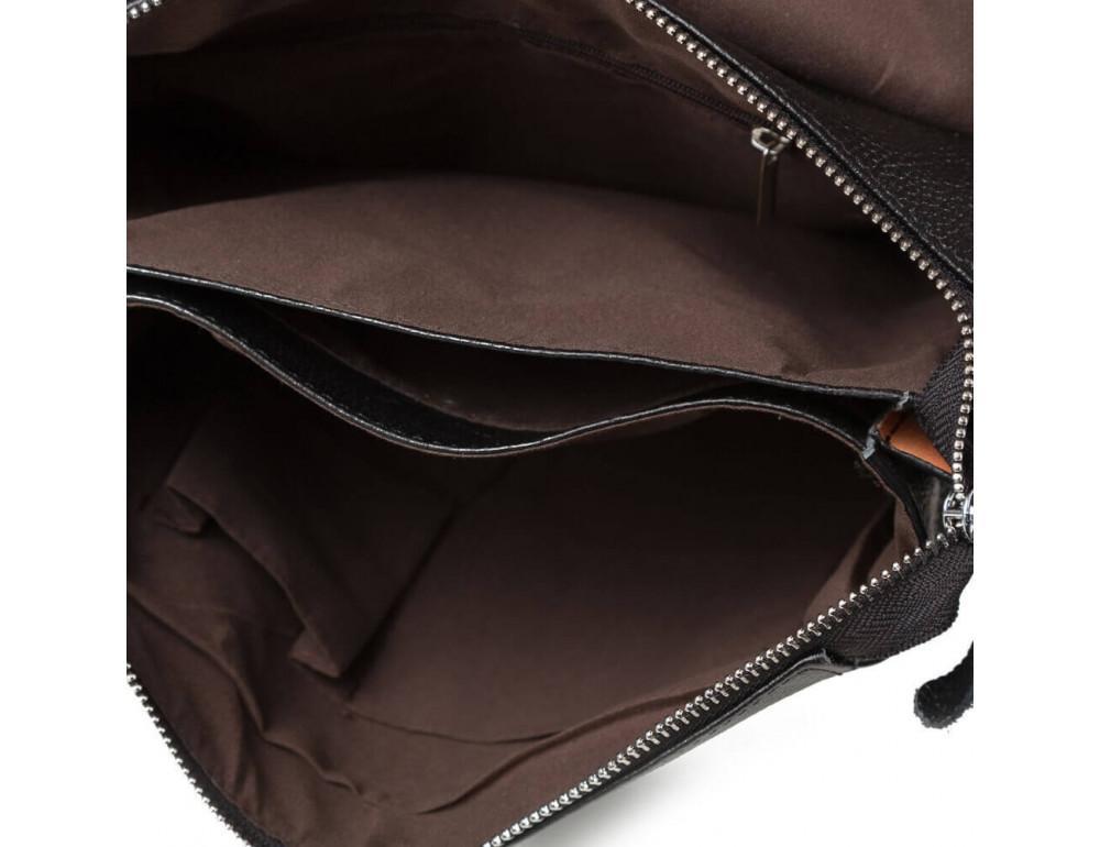 Кожаная сумка на плечо с двумя отделениями TIDING BAG A25-064A чёрная - Фото № 11
