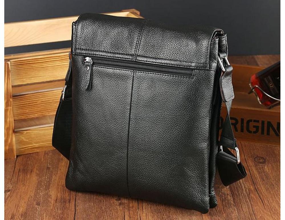 Кожаная сумка на плечо с двумя отделениями TIDING BAG A25-064A чёрная - Фото № 5