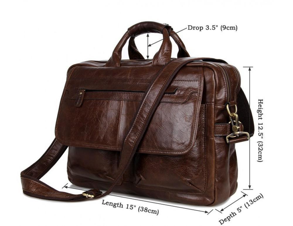 Кожаная сумка через плечо TIDING BAG 7085C - Фото № 3