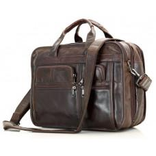 Кожаная сумка TIDING BAG 7093C тёмно-коричневая