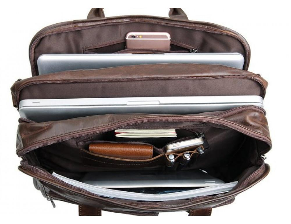 Кожаная сумка TIDING BAG 7093C тёмно-коричневая - Фото № 10