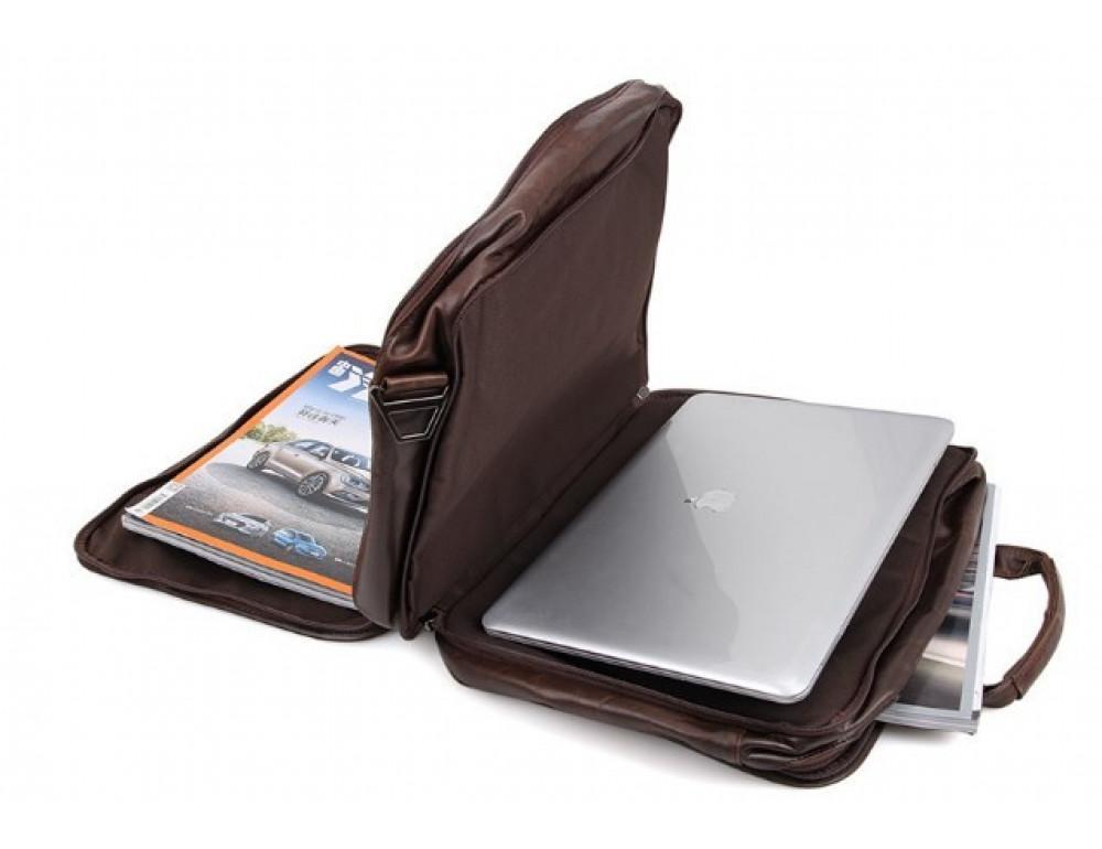 Кожаная сумка TIDING BAG 7093C тёмно-коричневая - Фото № 9