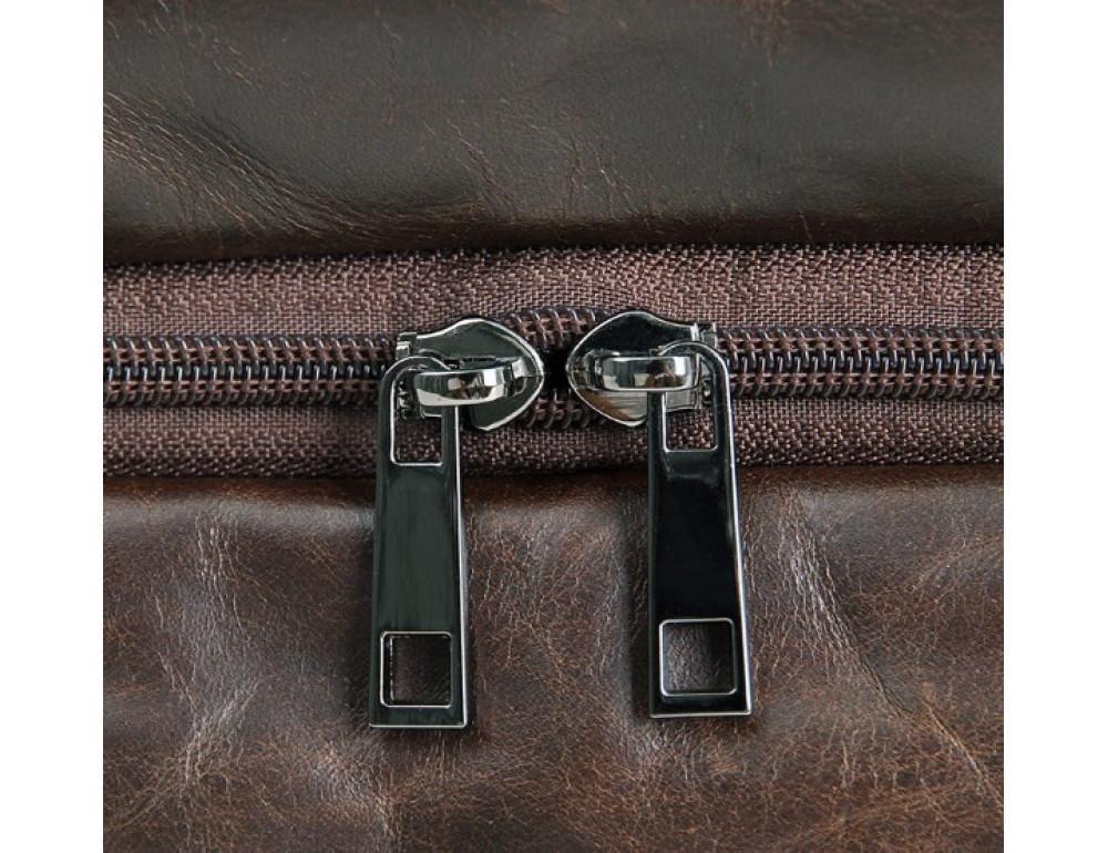 Кожаная сумка TIDING BAG 7093C тёмно-коричневая - Фото № 7