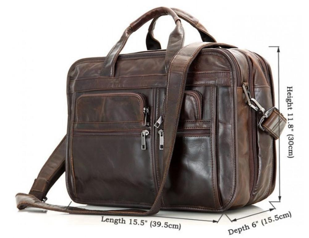 Кожаная сумка TIDING BAG 7093C тёмно-коричневая - Фото № 12