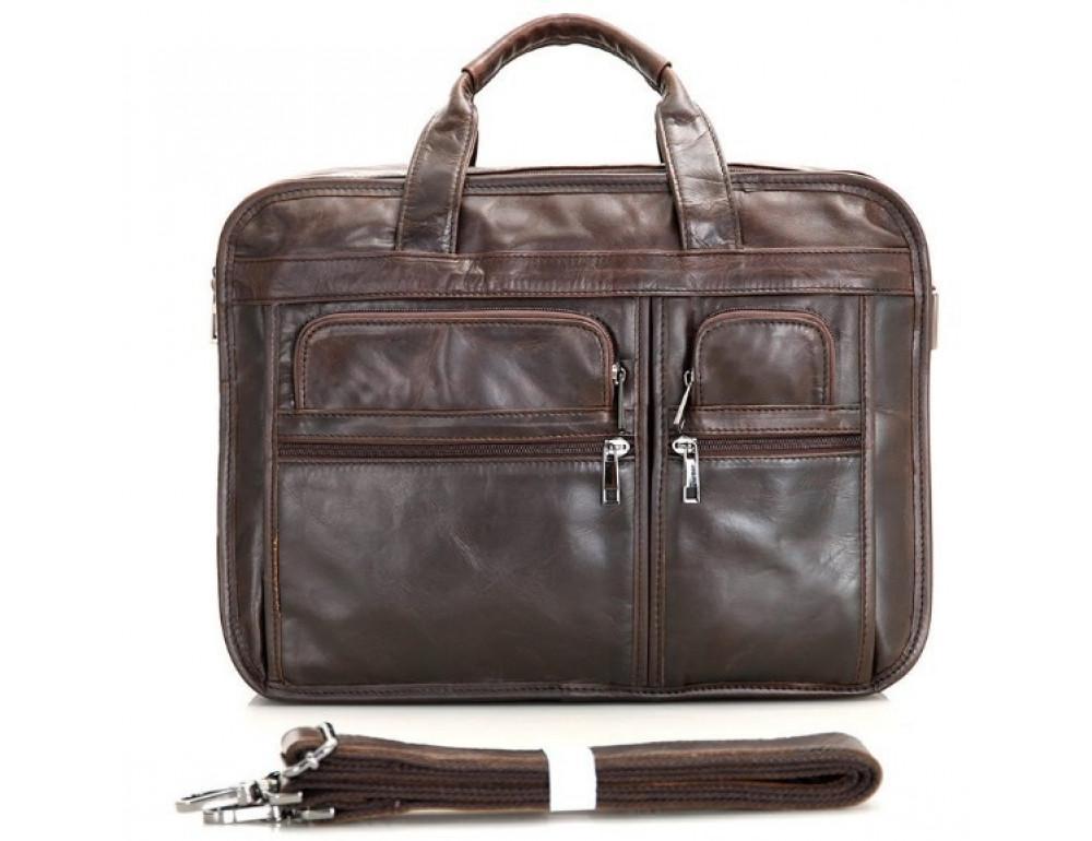 Кожаная сумка TIDING BAG 7093C тёмно-коричневая - Фото № 8