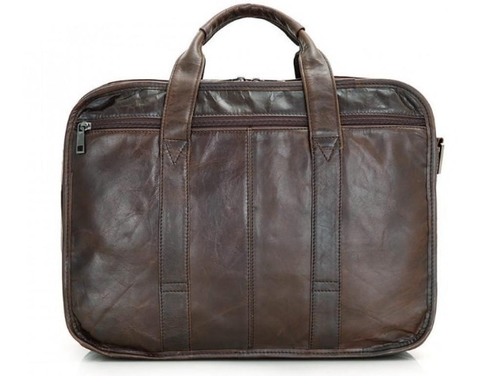 Кожаная сумка TIDING BAG 7093C тёмно-коричневая - Фото № 2