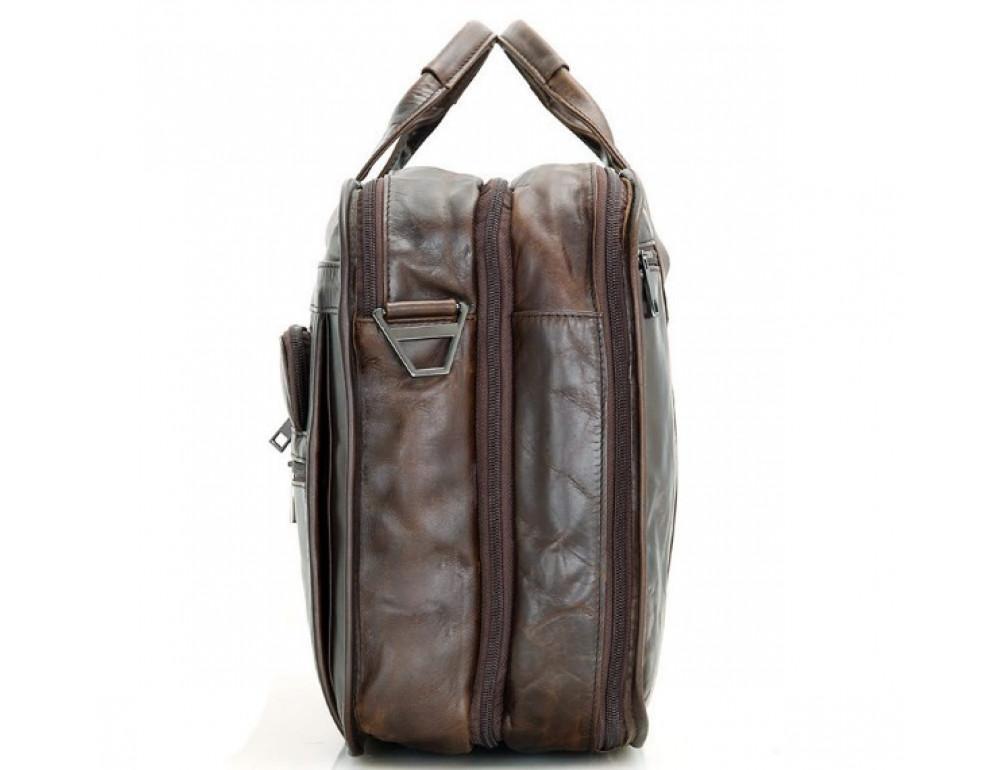 Кожаная сумка TIDING BAG 7093C тёмно-коричневая - Фото № 3