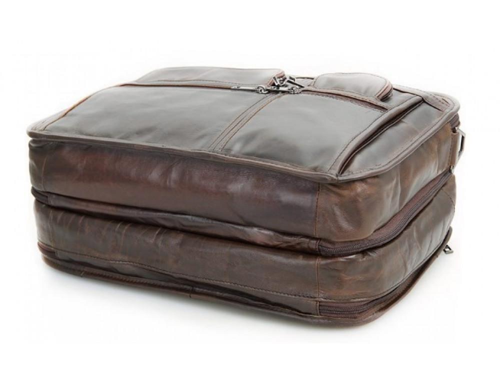 Кожаная сумка TIDING BAG 7093C тёмно-коричневая - Фото № 5