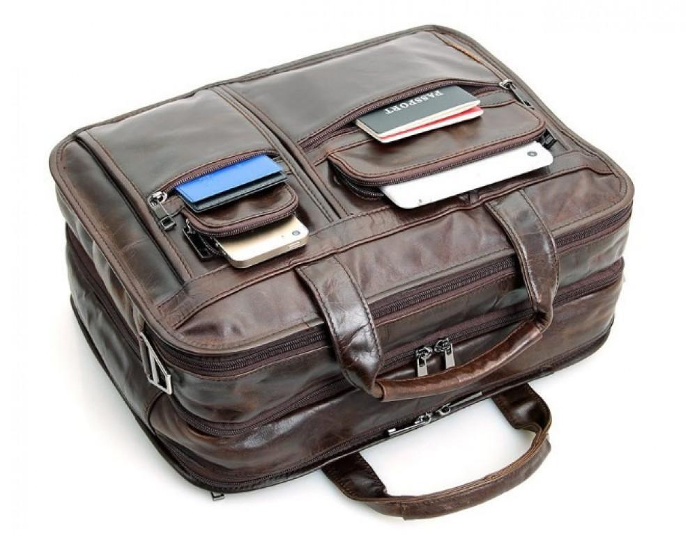 Кожаная сумка TIDING BAG 7093C тёмно-коричневая - Фото № 6