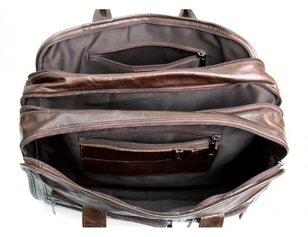 Кожаная сумка TIDING BAG 7093C тёмно-коричневая - Фото № 11