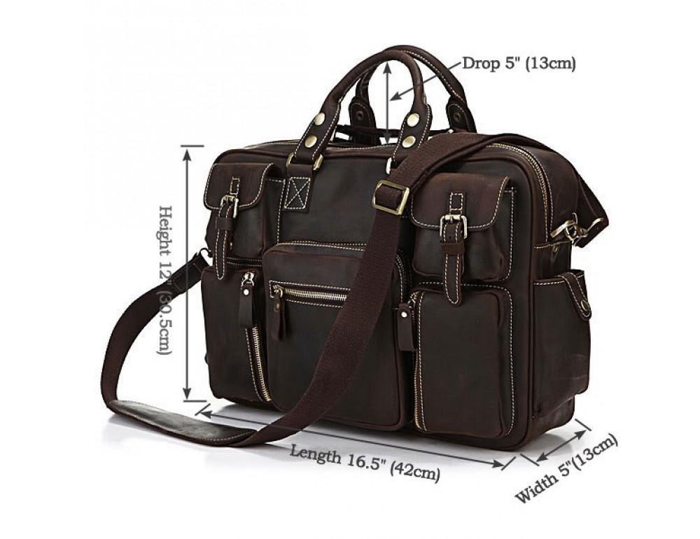 Чоловічий шкіряний портфель TIDING BAG 7028R темно-коричневий - Фотографія № 3