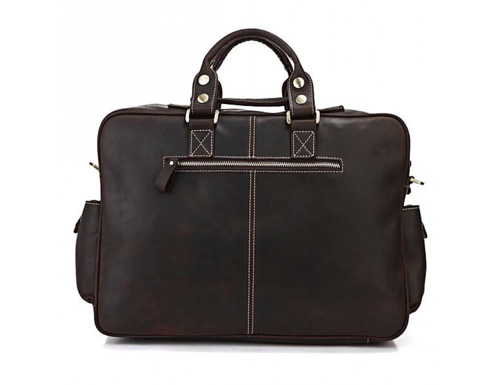 Чоловічий шкіряний портфель TIDING BAG 7028R темно-коричневий - Фотографія № 2