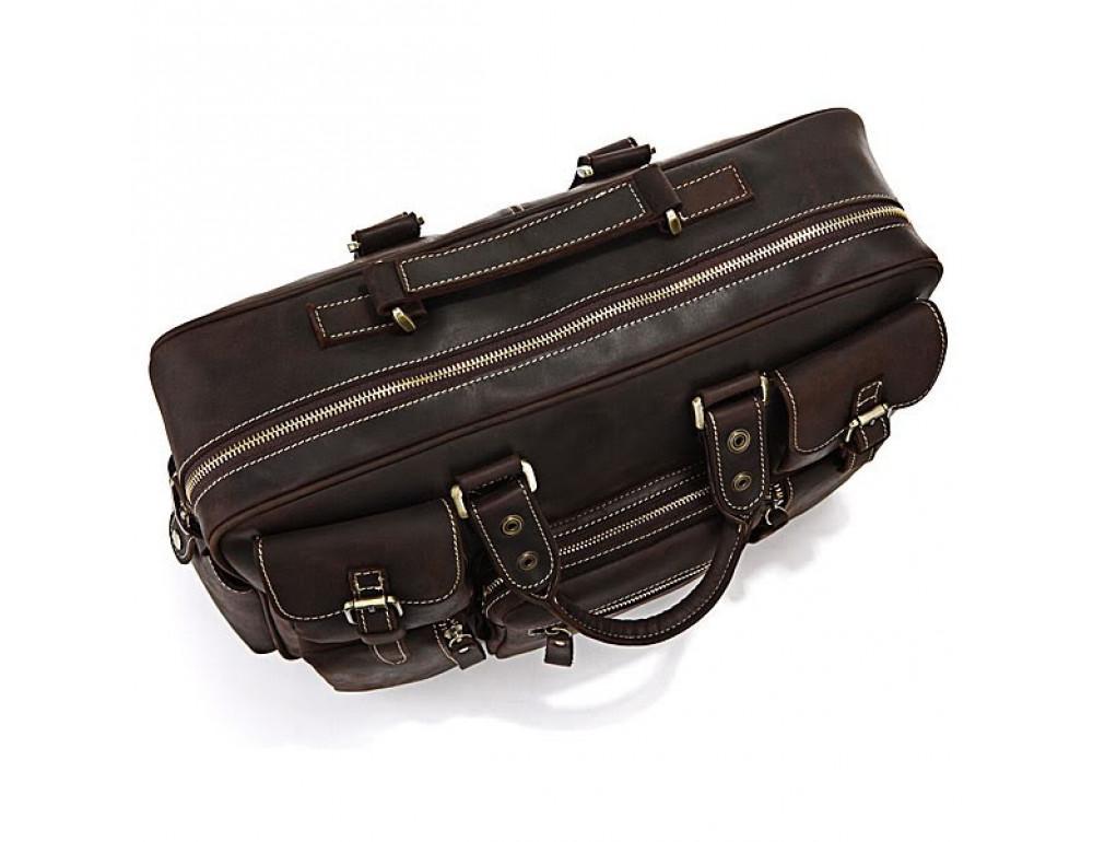 Чоловічий шкіряний портфель TIDING BAG 7028R темно-коричневий - Фотографія № 7