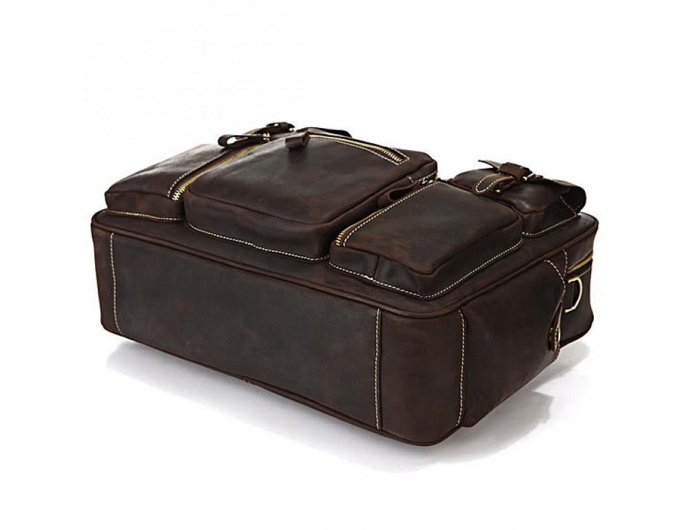 Чоловічий шкіряний портфель TIDING BAG 7028R темно-коричневий - Фотографія № 8