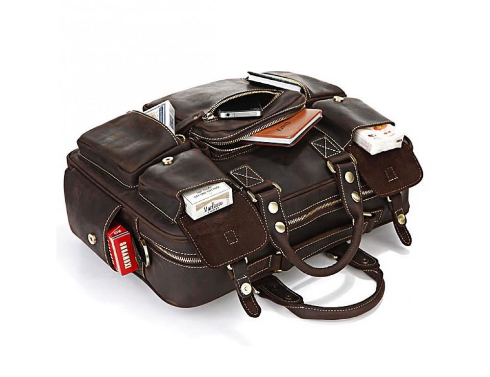 Чоловічий шкіряний портфель TIDING BAG 7028R темно-коричневий - Фотографія № 4