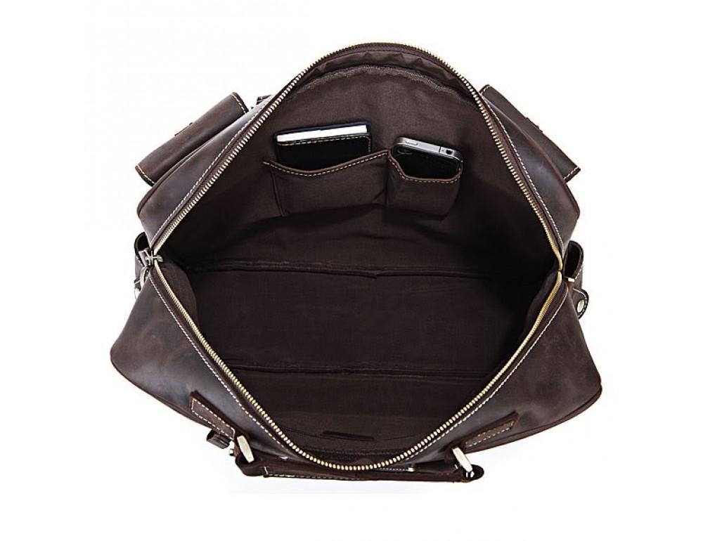 Чоловічий шкіряний портфель TIDING BAG 7028R темно-коричневий - Фотографія № 5