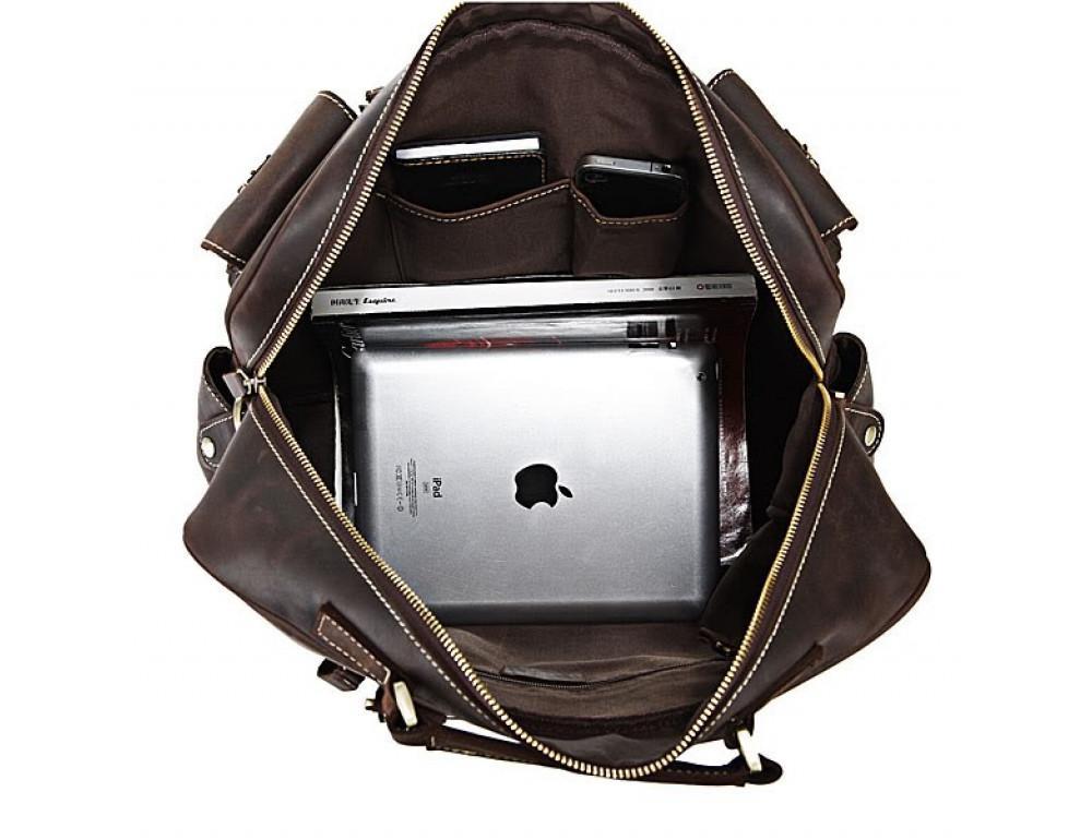 Чоловічий шкіряний портфель TIDING BAG 7028R темно-коричневий - Фотографія № 6