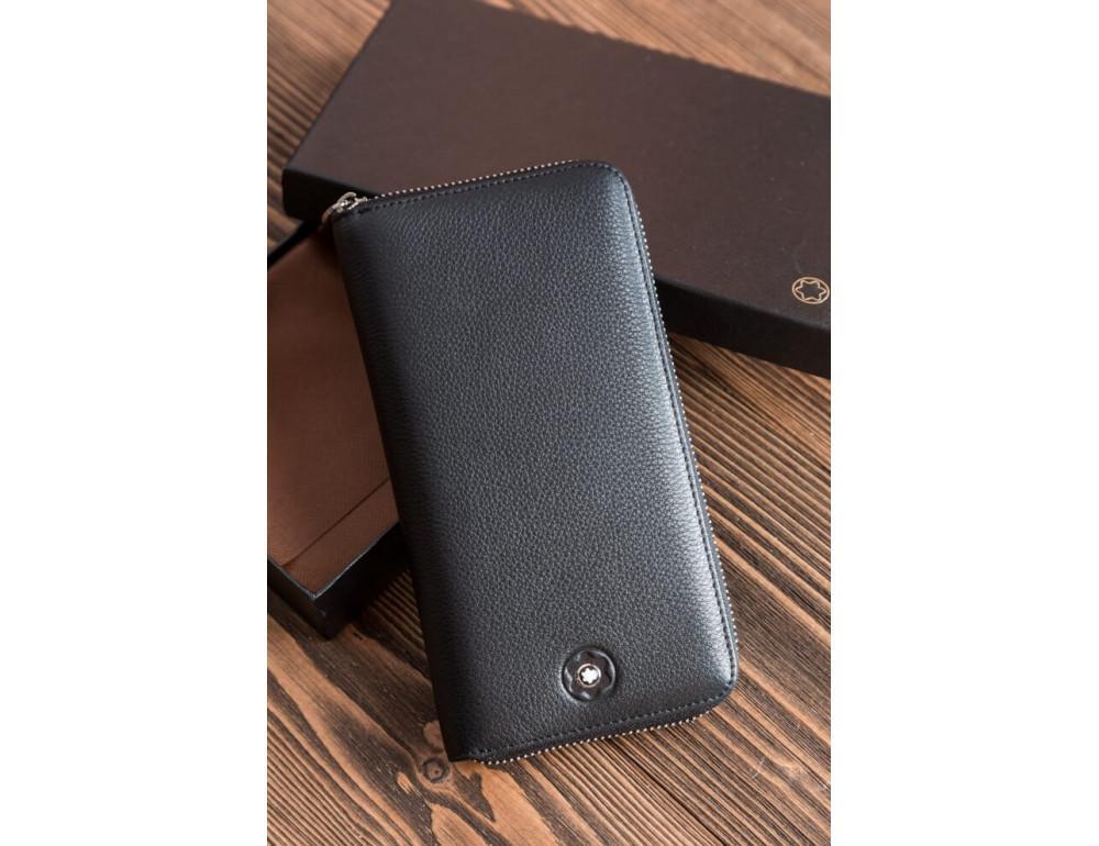 Кожаный клатч Montblanc MOH-05 черный - Фото № 3