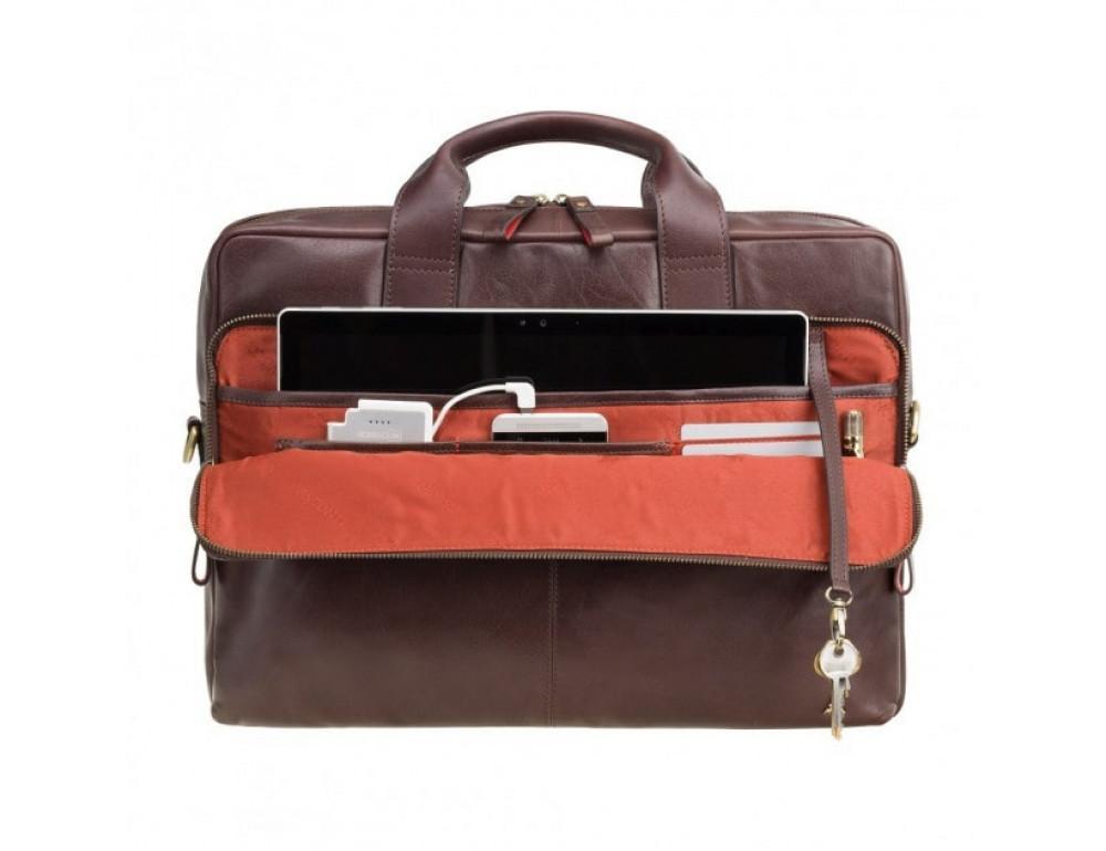 """Кожаная сумка для ноутбука 13"""" Visconti ML30 brn (с зашитой RFID) коричневая - Фото № 3"""