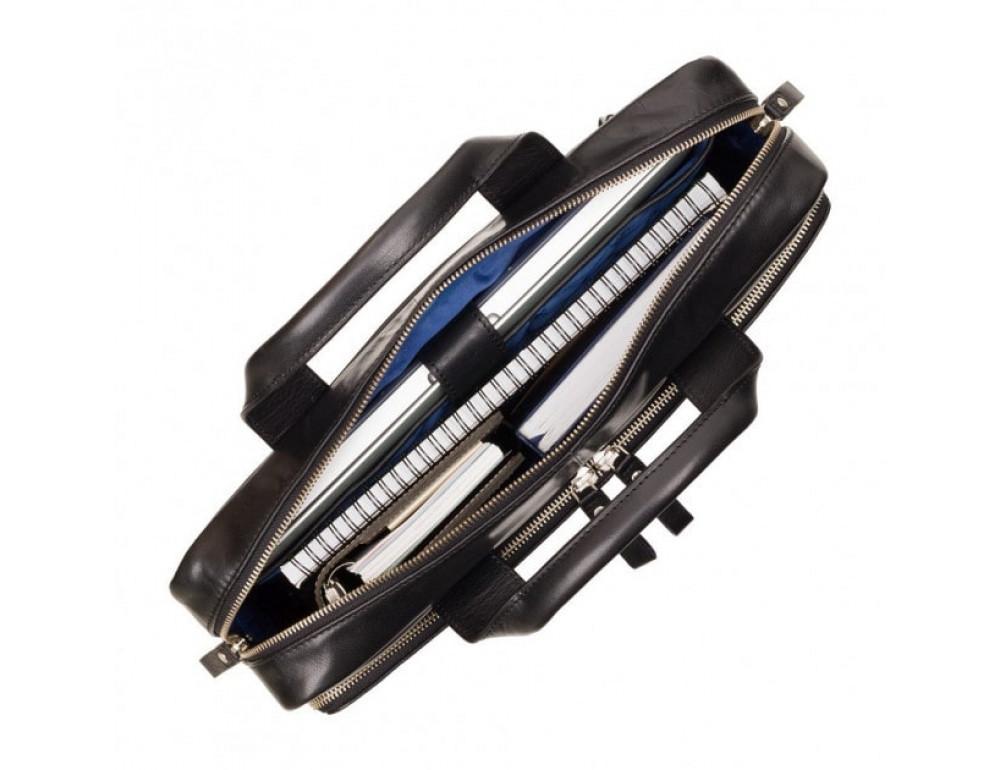 """Кожаная сумка для ноутбука 13"""" Visconti ML30 BLK Hugo (с зашитой RFID) Чёрная - Фото № 2"""