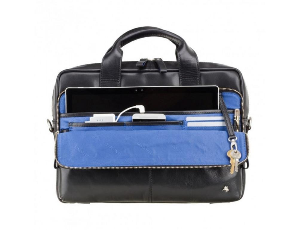 """Кожаная сумка для ноутбука 13"""" Visconti ML30 BLK Hugo (с зашитой RFID) Чёрная - Фото № 3"""