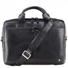 """Кожаная сумка для ноутбука 13"""" Visconti ML30 Hugo (с зашитой RFID) Чёрная"""