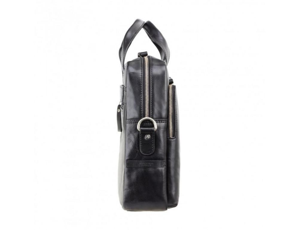 """Кожаная сумка для ноутбука 13"""" Visconti ML30 BLK Hugo (с зашитой RFID) Чёрная - Фото № 4"""