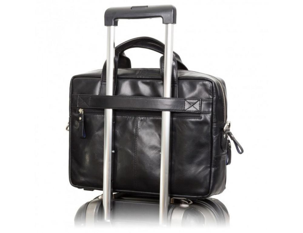 """Кожаная сумка для ноутбука 13"""" Visconti ML30 BLK Hugo (с зашитой RFID) Чёрная - Фото № 5"""