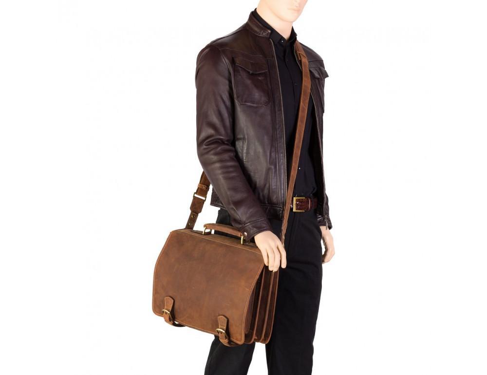 Кожаный портфель 16134XL oil tan - Hulk коричневый - Фото № 2