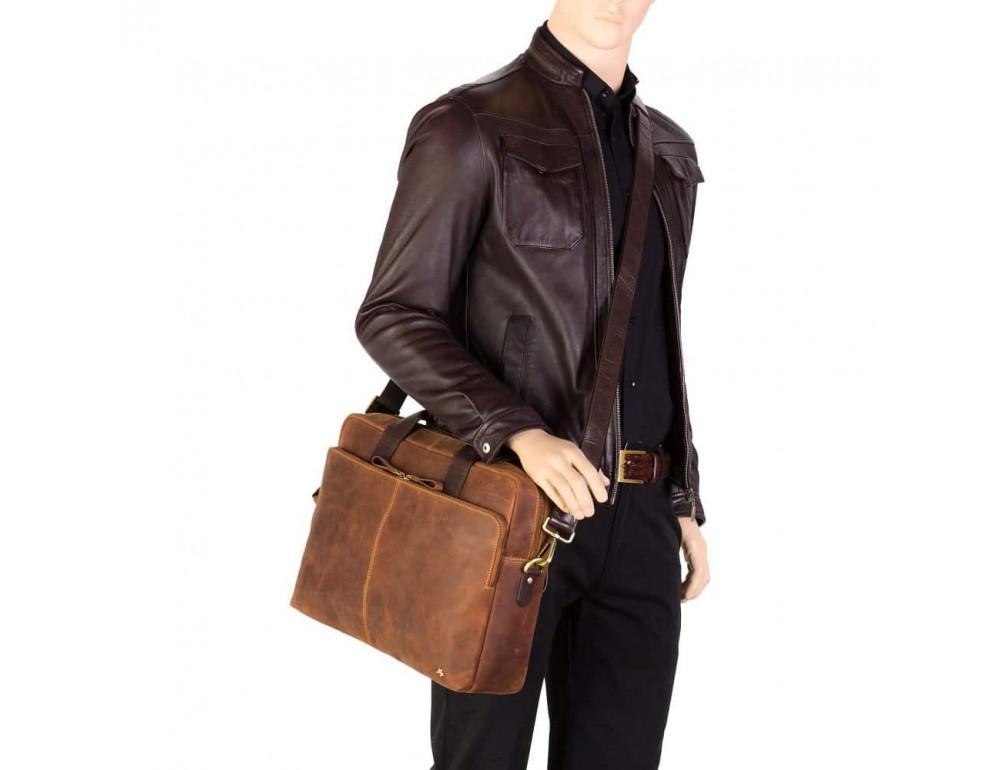 Кожаная сумка для ноутбука 15'' Visconti Toscana TC84 Hugo c RFID коричневая - Фото № 2