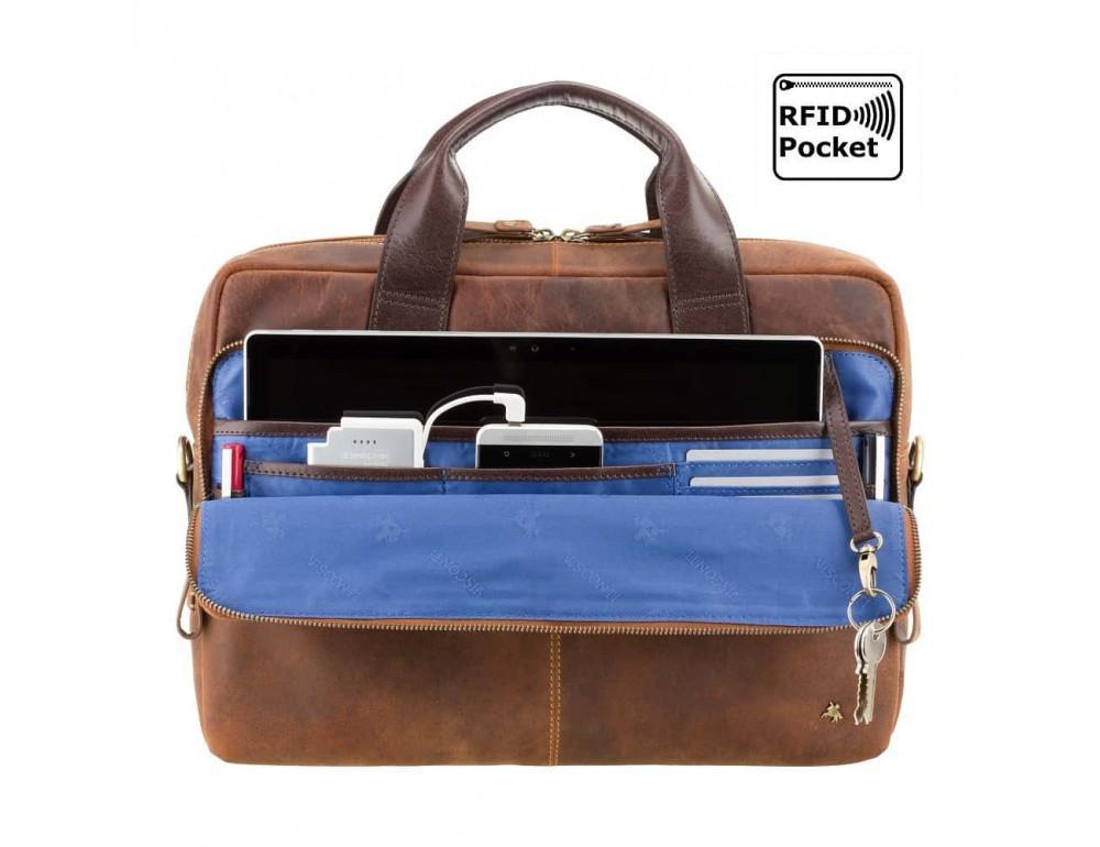 Кожаная сумка для ноутбука 15'' Visconti Toscana TC84 Hugo c RFID коричневая - Фото № 5