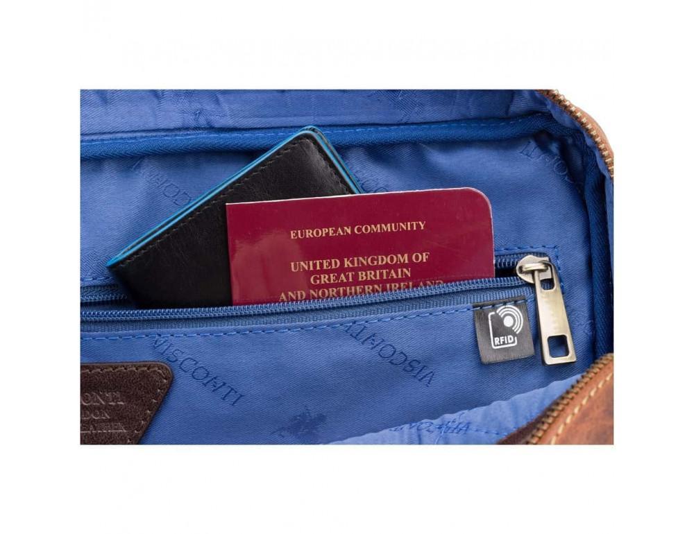Кожаная сумка для ноутбука 15'' Visconti Toscana TC84 Hugo c RFID коричневая - Фото № 6