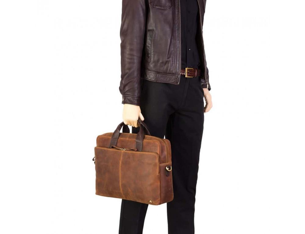 Кожаная сумка для ноутбука 15'' Visconti Toscana TC84 Hugo c RFID коричневая - Фото № 8