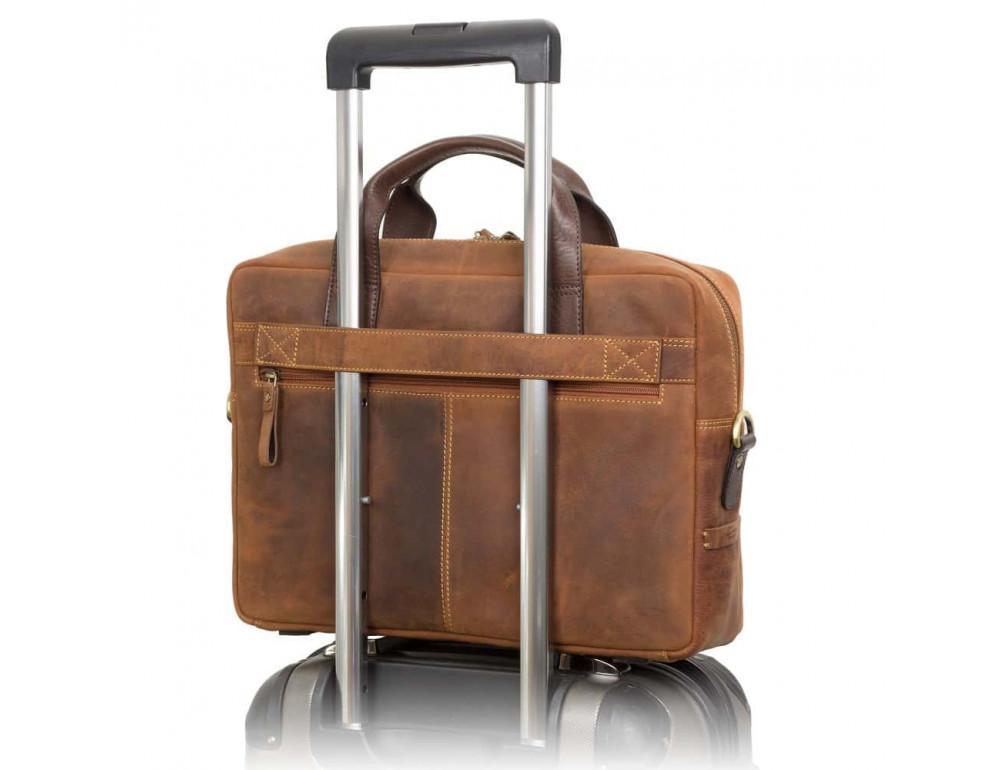 Кожаная сумка для ноутбука 15'' Visconti Toscana TC84 Hugo c RFID коричневая - Фото № 9