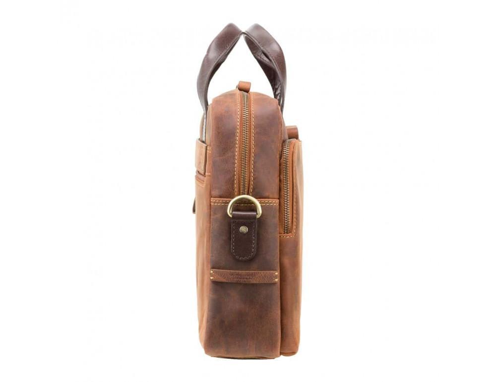 Кожаная сумка для ноутбука 15'' Visconti Toscana TC84 Hugo c RFID коричневая - Фото № 10