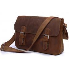 Мужская кожаная сумка-мессенджер TIDING BAG 6002B-1 коричневая