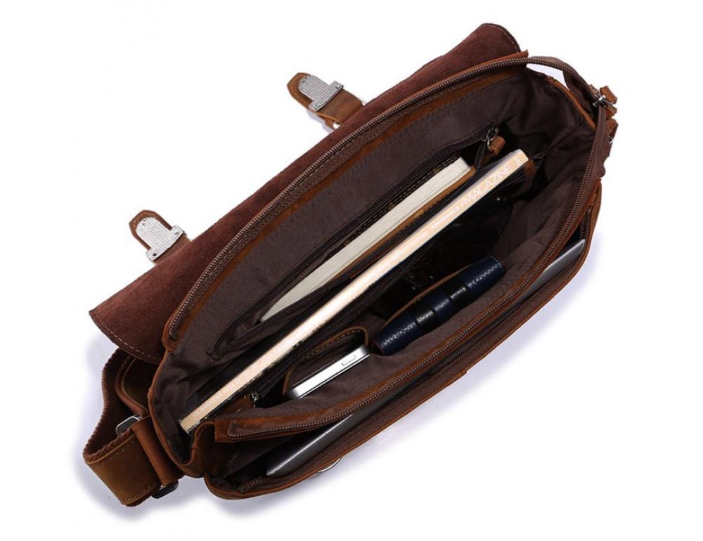 Чоловіча шкіряна сумка-месенджер TIDING BAG 6002B-1 коричнева - Фотографія № 4