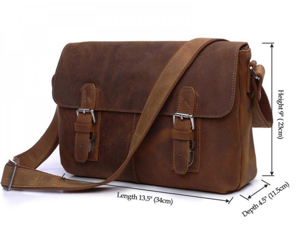 Чоловіча шкіряна сумка-месенджер TIDING BAG 6002B-1 коричнева - Фотографія № 5