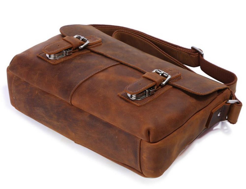 Чоловіча шкіряна сумка-месенджер TIDING BAG 6002B-1 коричнева - Фотографія № 6