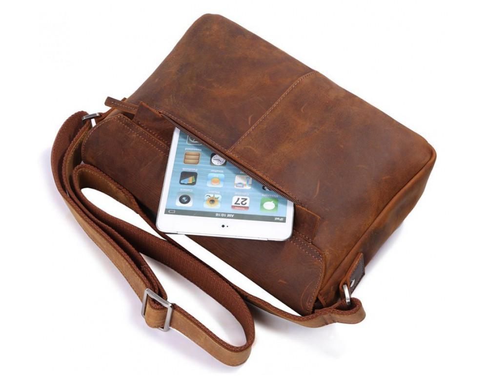 Чоловіча шкіряна сумка-месенджер TIDING BAG 6002B-1 коричнева - Фотографія № 7