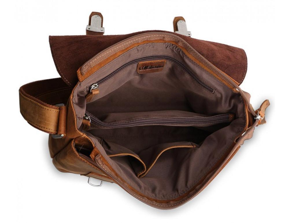 Чоловіча шкіряна сумка-месенджер TIDING BAG 6002B-1 коричнева - Фотографія № 9