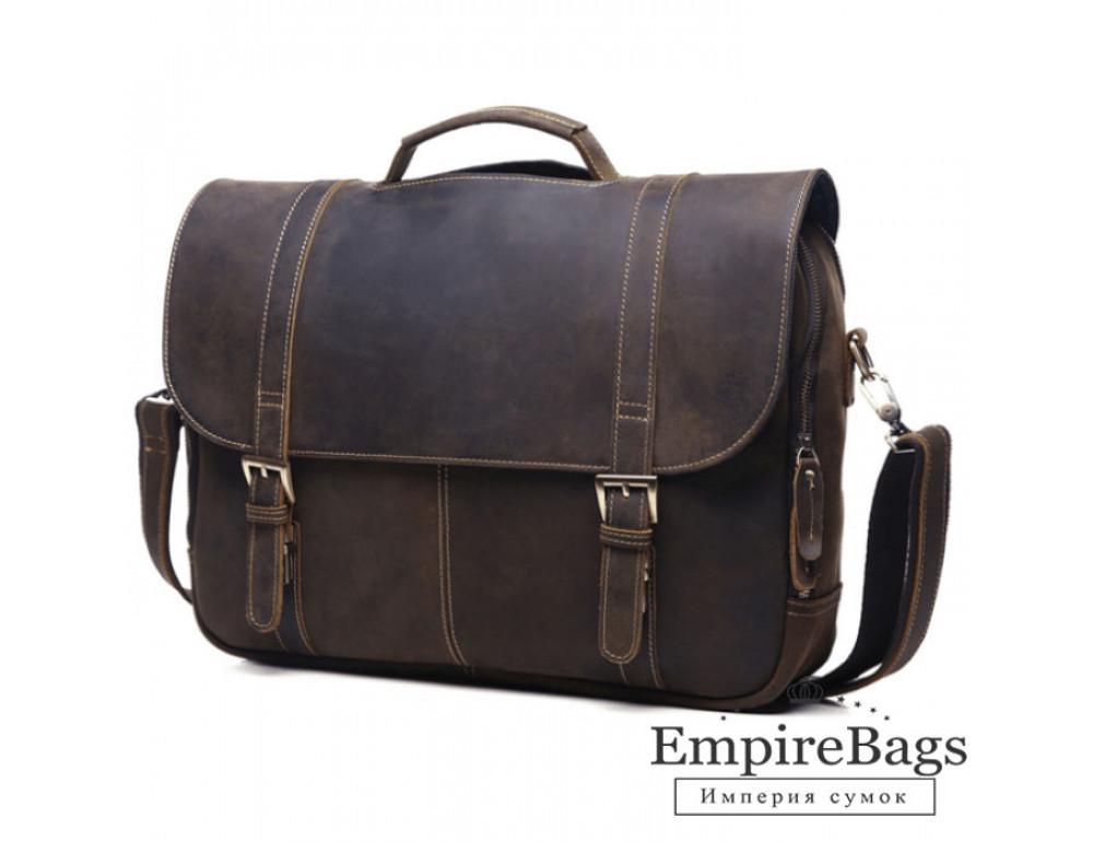 Стильний шкіряний портфель TIDING BAG 6251R темно-коричневий