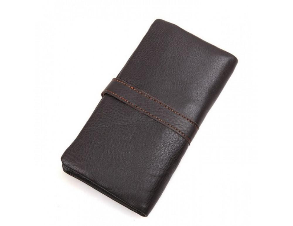 Кожаный портмоне TIDING BAG 8140C тёмно-коричневый - Фото № 2