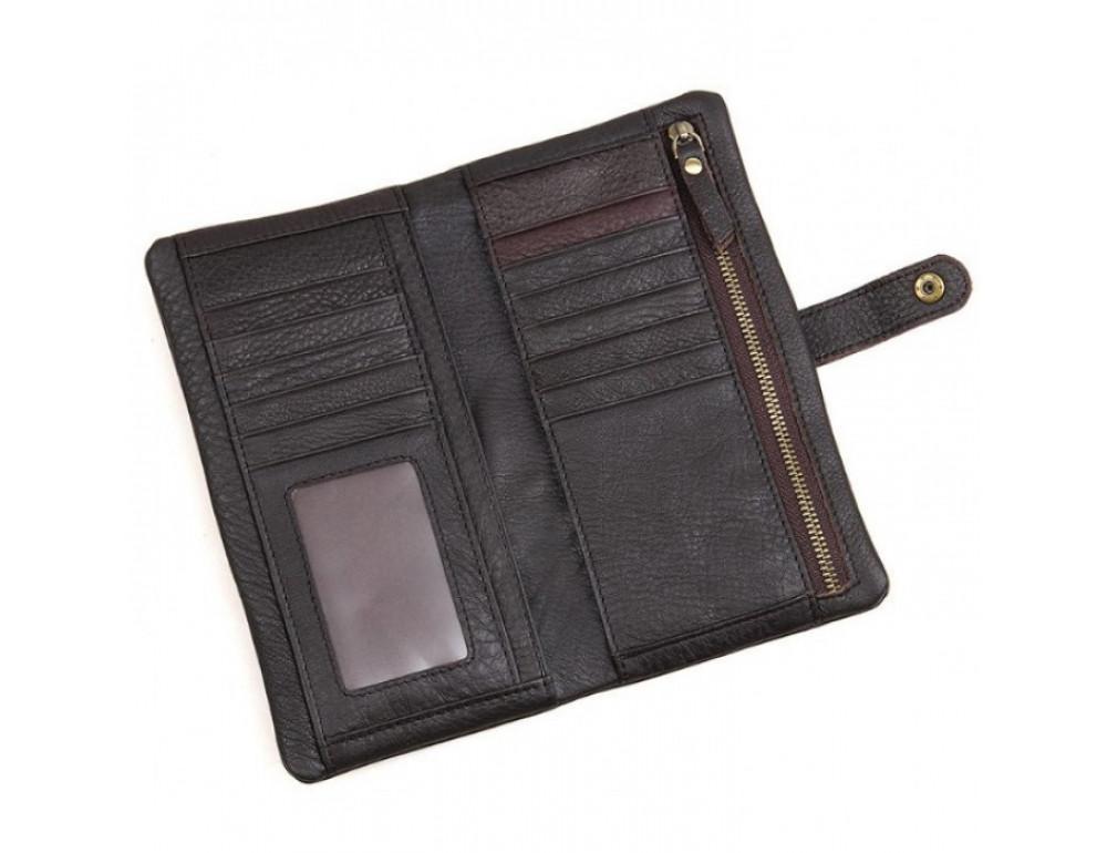 Кожаный портмоне TIDING BAG 8140C тёмно-коричневый - Фото № 3