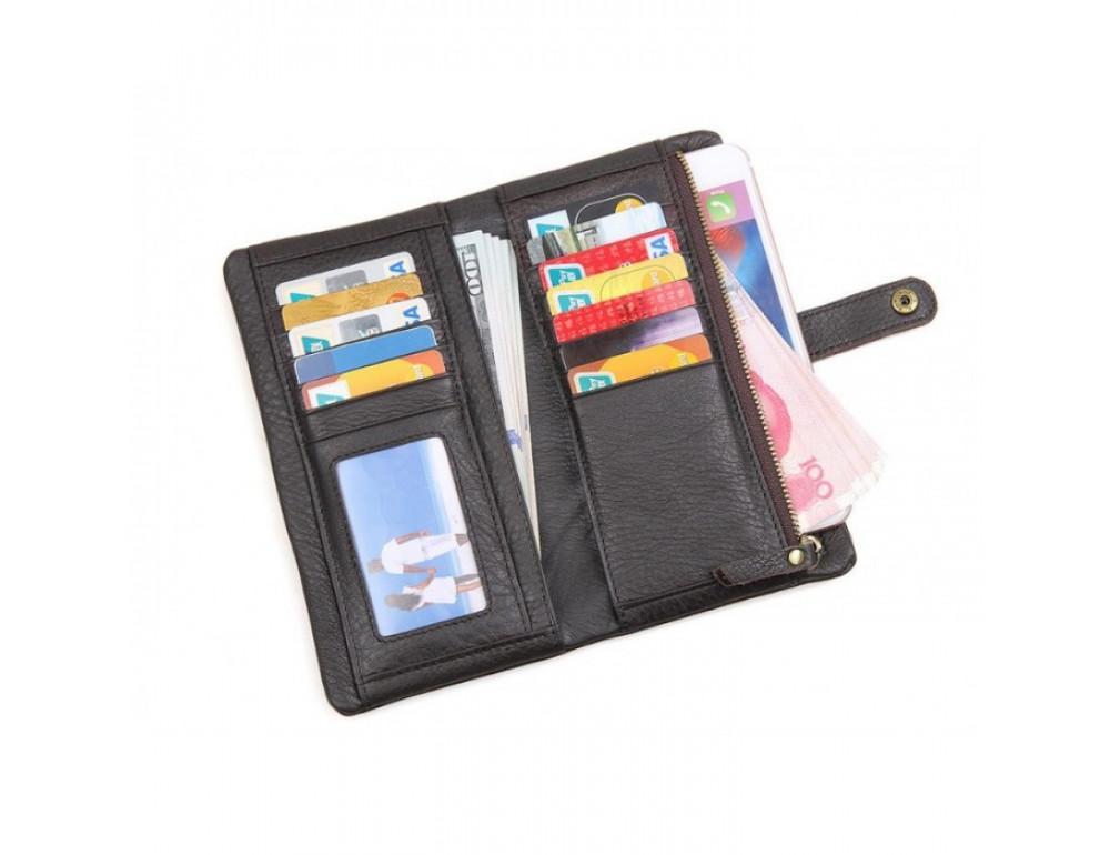 Кожаный портмоне TIDING BAG 8140C тёмно-коричневый - Фото № 5